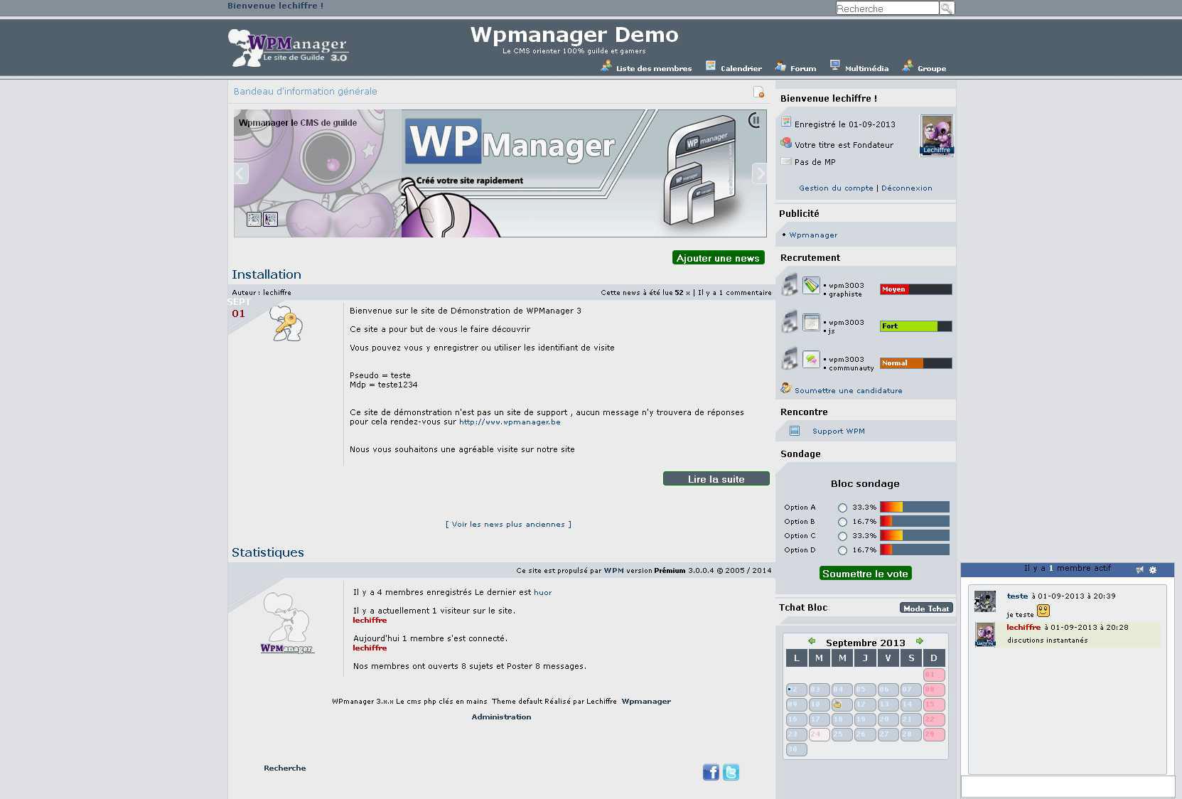 Copie d'écran du script Wpmanager