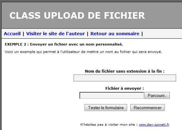 Copie d'écran du script Class Upload de Fichier en PHP