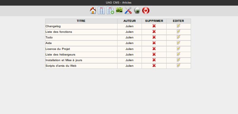 Copie d'écran du script UAG CMS : CMS sans base de données