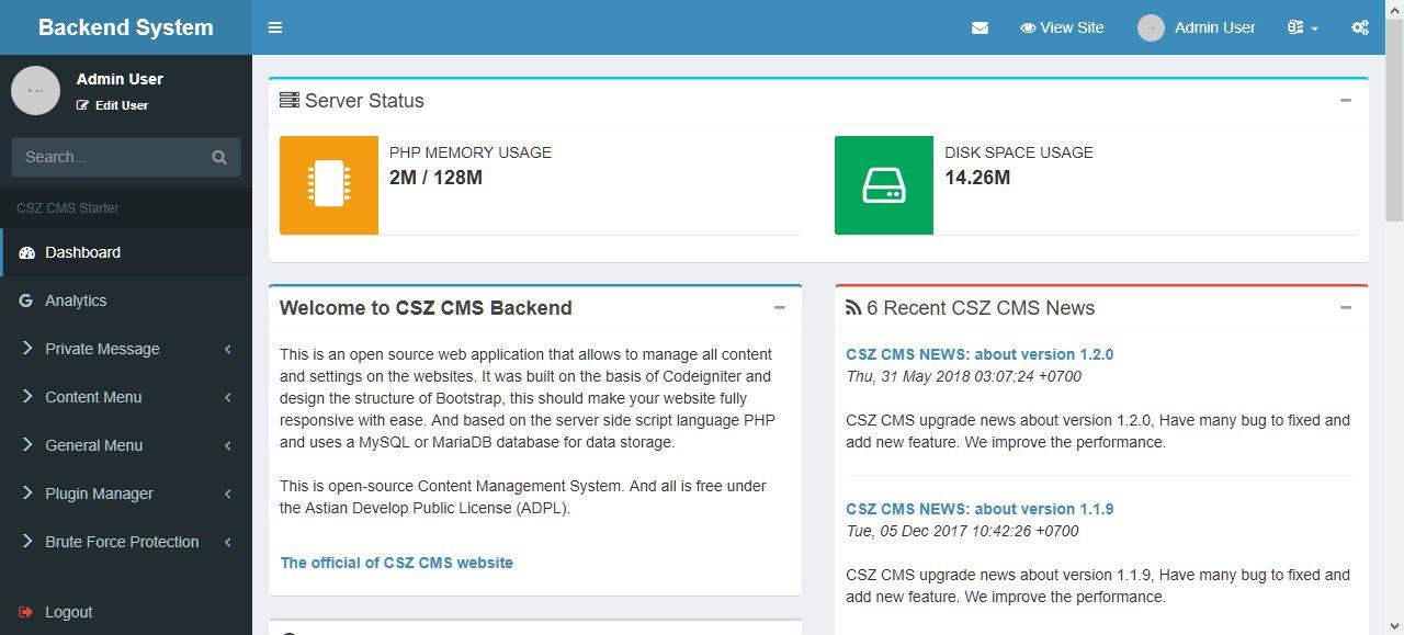 Copie d'écran du script CSZ-CMS