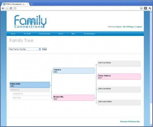 Copie d'écran du script Family Connections