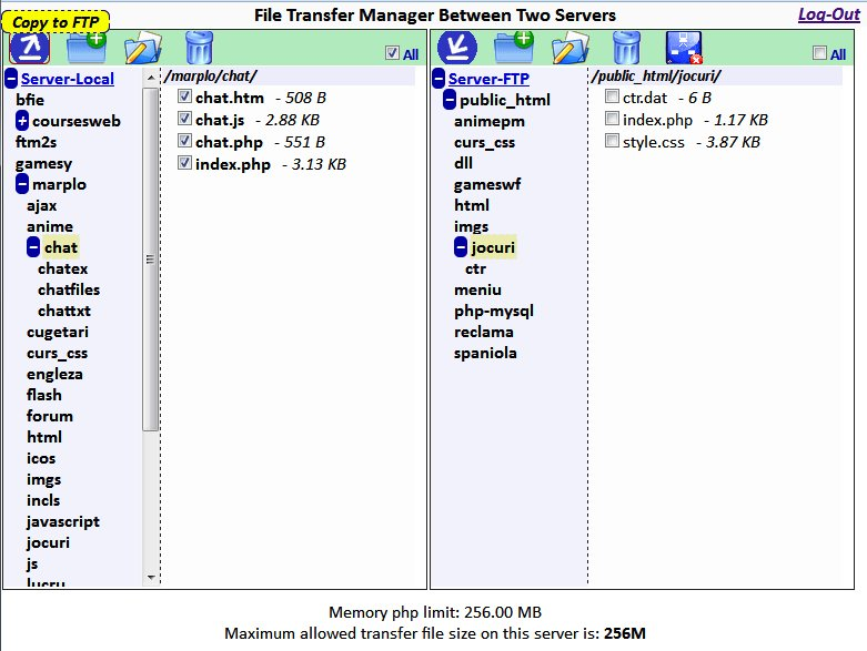 Copie d'écran du script File Transfer Manager
