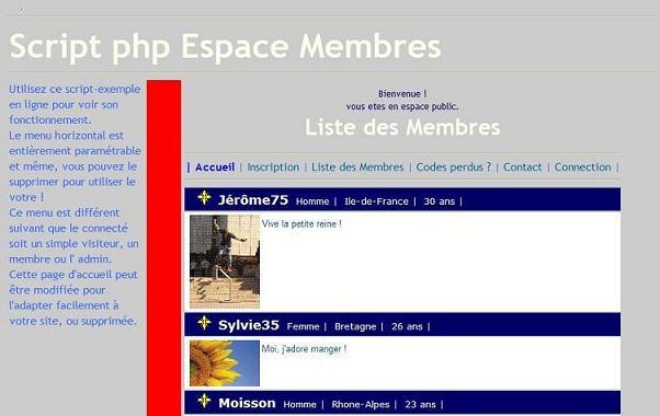 Copie d'écran du script Espace Membres complet avec sessions