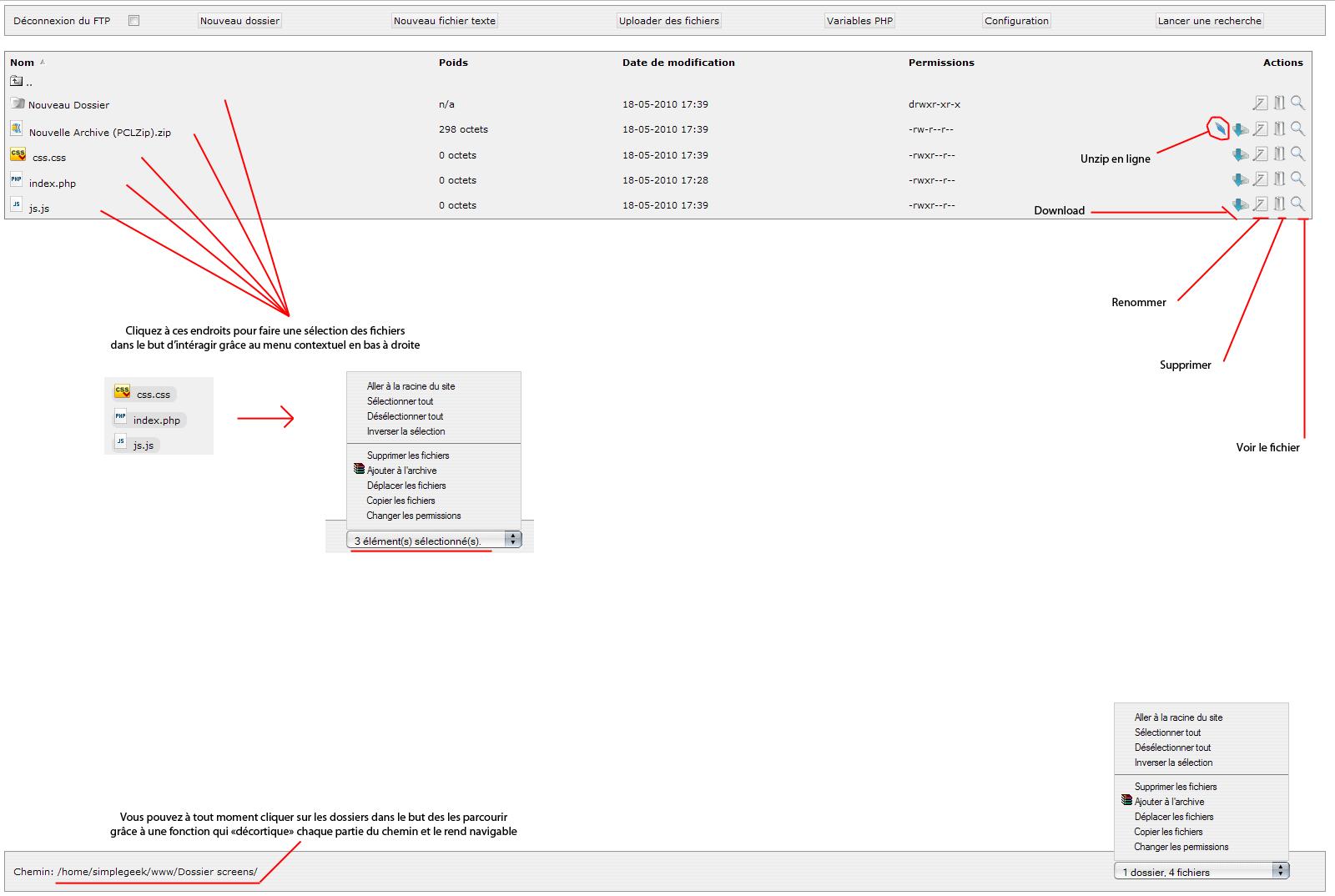 Copie d'écran du script WebFTP complet - PHP Web Manager