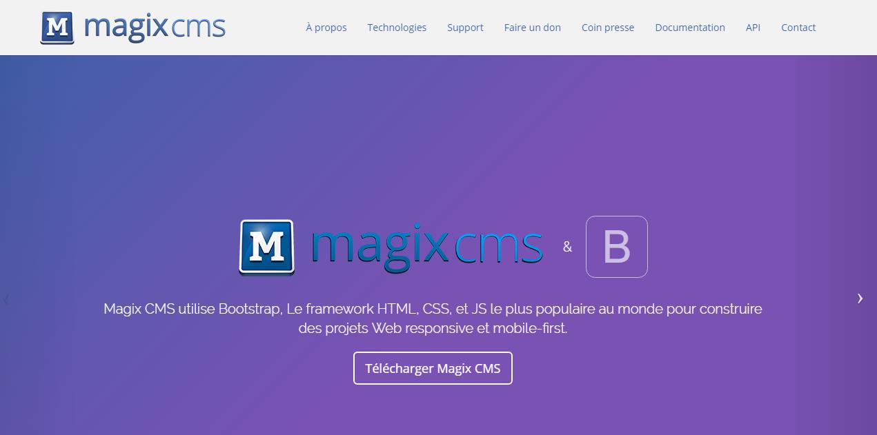 Copie d'écran du script Magix-CMS